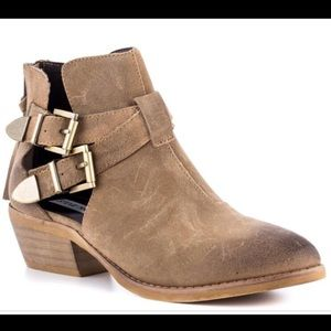 Steve Madden Distressed Tan Cinch Booties Size 8.5